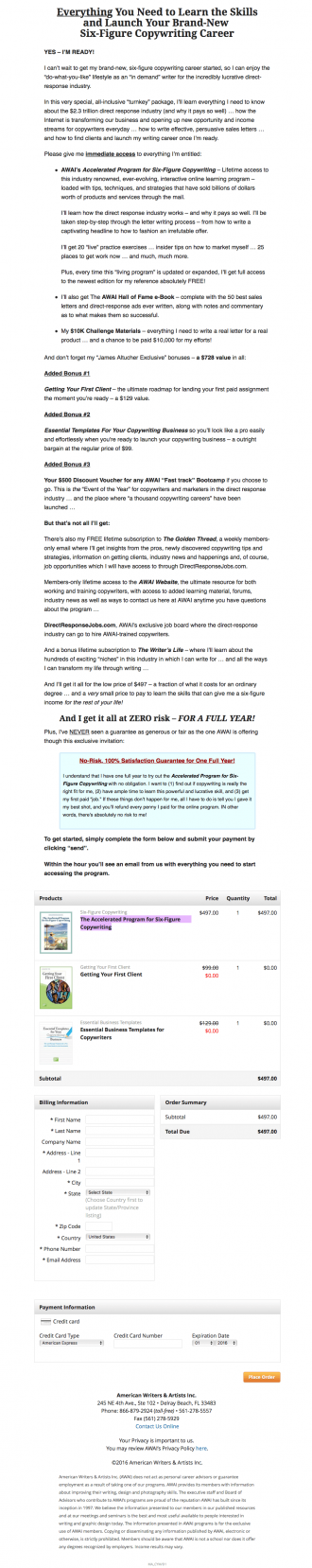 Accelerated Program for Six Figure Copywriting Order Page